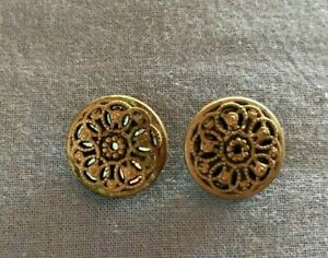 Pair Of Victorian Brass Metal Buttons W Pretty Filagree Design 3 4