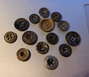 Set Of 14 Vintage Victorian Etched Embossed Metal Buttons1 2 1 Nice Variety