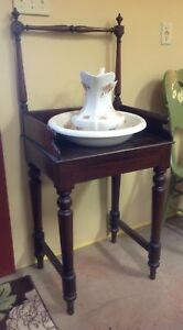 Beautiful Antique Federal Cherry Wood Bowl Pitcher Basin Wash Stand Towel Bar