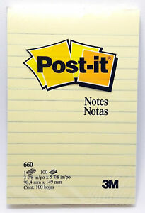 3m Post it Notes 660 3 7 8 x 5 7 8 100 Sheets Lined Yellow Sealed New