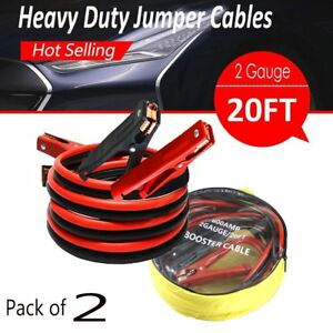 2pk 20ft 2gauge Booster Jumper Cables Emergency Battery Trucks Car Heavy Duty