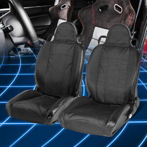 Pair Black Woven Fabric Reclinable Type Xl01 Sports Racing Seat Left Right Side
