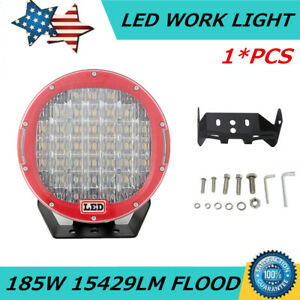 9inch 185w Red Led Round Work Lights Flood Beam Driving Head Light Off Road Suv
