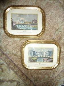 2 Vintage Wood Ornate Gold Gilt Picture Frames Italy Florentia With Flat Glass