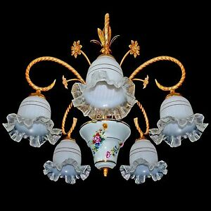 Vintage French Limoges Porcelain Gold Plated Brass And Murano Glass Chandelier