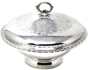Oneida Silver Plate Round Serving Casserole Dish W Scroll Detailed Lid 10 5 In