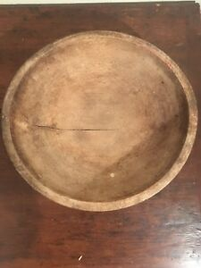 Large Antique New England Carved Wood Bowl Beautiful Patina Wow Primitive 14
