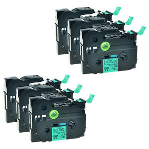 6 Pk Black On Green Label Tape For Brother Tze 741 Tz 741 P touch Pt 1880 9500pc