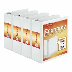 Cardinal 3 Inch 3 Ring Binder Round Ring White 4 Pack Holds 625 Sheets 0