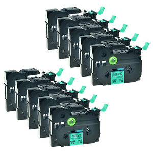 10pk Black On Green Label Tape For Brother Tze 741 Tz 741 Pt 310 P touch 18mm 8m