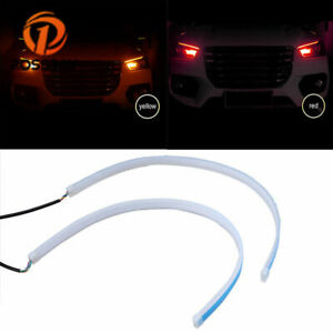2x 30cm Led Light Strips Tube Switchback Red Amber Flexible Drl Turn Signal Lamp