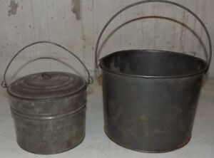 Vintage 2 Berry Buckets Tin Primitive Lunch Pail 1 W Lid Large And Small