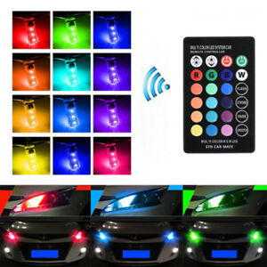 2x Remote Control Rgb Multicolor Side Light Bulbs Parking Lights T10 194 168 W5w