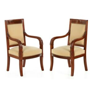 Pair Of French Empire Style Carved Mahogany Antique Arm Chairs 20th Century