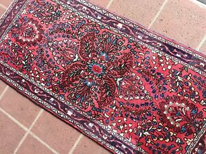 A Vintage Small 2 6 X 5 3 Persian Sarouk Throw Rug Complimentary Shipping
