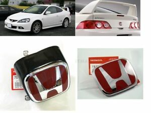 Jdm Front Rear Red h Emblems For Honda Acura Rsx Integra Dc5 05 06 New