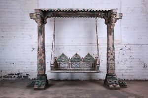 18th Century Ornate Carved Indian Jhula Bench Swing