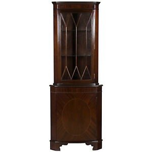 English Antique Style Mahogany Single Door Small Narrow Corner Cabinet Cupboard