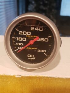 Autometer 5441 Pro Comp Liquid Filled Mechanical Oil Temp Used Gauge Free Ship