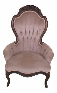F46006ec Victorian Style Carved Mahogany Ladies Parlor Chair