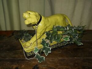 Mid Century Mod Lane Co 1953 Chartreuse Green Yellow Tiger Panther Planter