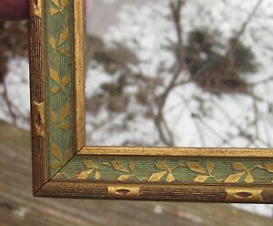 C1930 Delicate Green Gold Leaf Reeded Print Painting Postcard 5 X 8 Frame