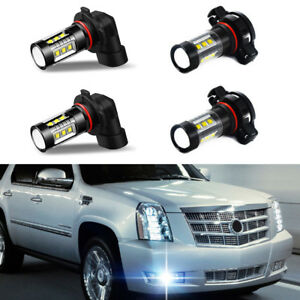 4pcs White Led Fog Driving Drl Light Bulbs Combo For 2007 2014 Cadillac Escalade