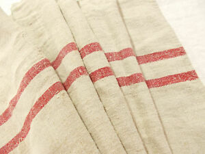 Vtg Antique Rustic Red Stripe European Hemp Linen Fabric Feed Sack Grain Bag 56