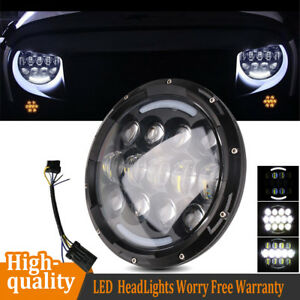 7 105w Round Led Headlight Light Lamp Drl Amber Turn For Jeep Wrangler Harley