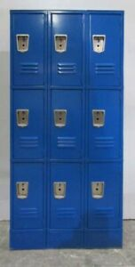 Used Blue Metal Box Employee Lockers 9 Openings A Set