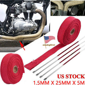 5m Exhaust Manifolds Turbo Heat Insulation Tape Heat Wrap Tape Thermal Wrap Red