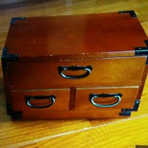 Japanese Vintage Sewing Box Showa Retro Wooden Chest Tansu Asian Antiques F S 0z