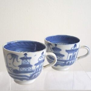 2 Antique Chinese Export Blue White Canton Ware Porcelain Tea Cups
