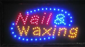 Led Neon Light Banner Sign Hair Cut Salon Beauty Nail And Waxing For Business