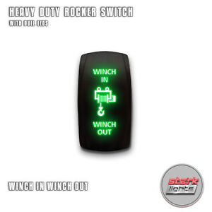 Green Laser Led Rocker Switch Light 7 Pin 20a 12v On Off Winch In Winch Out A
