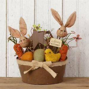 New Primitive Folk Art Rusty Wall Basket Spring Easter Chick Bunny Carrot Eggs