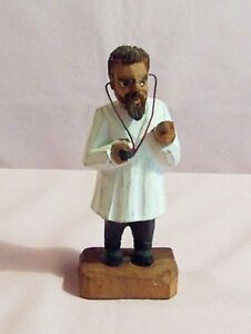 Vintage General Practitioner Physician With Stethoscope Hand Carved
