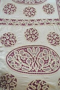 Antique French Hand Made Tape Lace Heavy Linen Bed Cover Tulle Frill Pom Poms