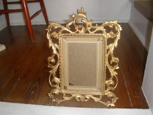 Antique Ornate Gold Gilt Iron Rococo Standing Picture Frame W Beveled Glass 5x7