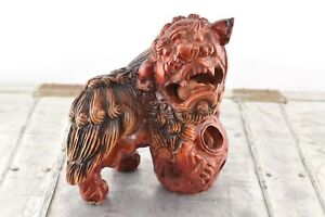 Vintage Carved Foo Dog With Floating Wood Balls In Mouth Lower Ball