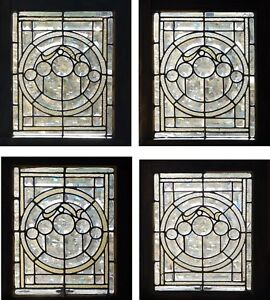 A Set Of 4 Antique Americanstained And Beveled Windows