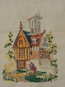 Antique Petit Cross Stitch Hand Embroidered Linen Sampler