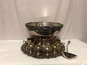 Fb Rogers Silver Co 1883 Punch Bowl Tray Ladle 13 Cups Silverplate