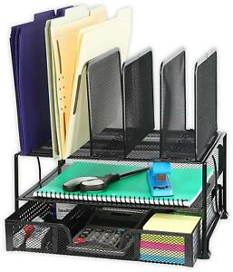 Mesh Desk Organizer With Sliding Drawer Double Tray And 5 Upright Sections Blk