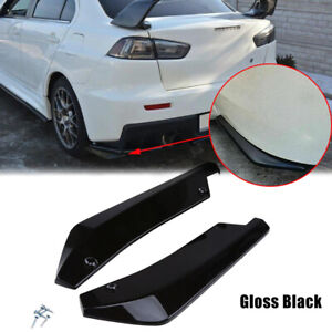 2x Universal Car Rear Bumper Anti Scratch Lip Splitters Winglets Canards Black