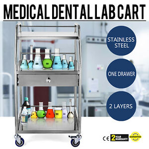 Stainless Steel Medical Lab Trolley Dental Three Layers Cart With One Drawer