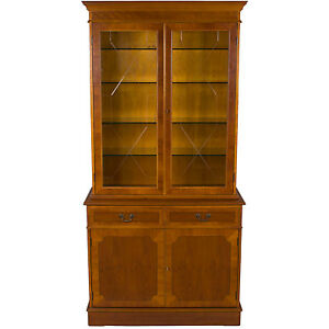 Vintage Antique Style Yew Wood Glass Door Breakfront Bookcase China Cabinet