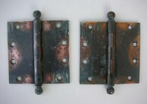 Pair Solid Brass Copper Flashed Antique 4 1 2 X 4 1 2 Door Hinges Cannon Balls