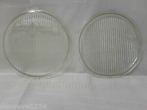 Vintage Pair Of 1930 s Round Glass Flat Headlight Lenses Fd a 8 15 32 X 7 7 8