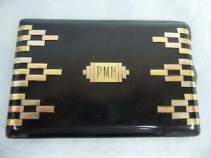 Stunning Art Deco 14k Tri Color Gold Sterling Enamel Cigarette Case Monogram